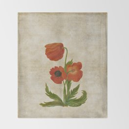 Vintage painting - Bunch of poppies Poppy Flower floral Throw Blanket