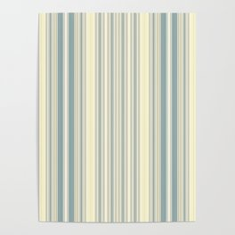 Seafoam Green Yellow Stripes Poster