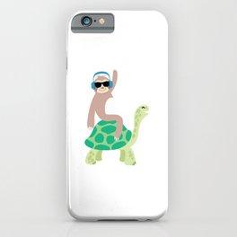 Funny Lazy Sloth Riding Sea Turtle Hona Gift iPhone Case