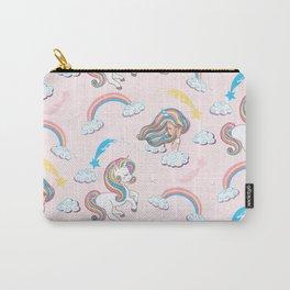 Rainbow unicorn & girl Carry-All Pouch