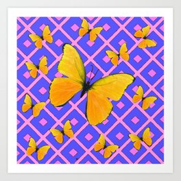 Decorative  Yellow Butterflies on Lilac & Pink Art Print