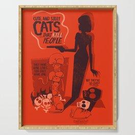 Cat Movie - orange Serving Tray