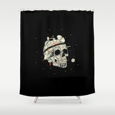 Planet Space Skull  Shower Curtain