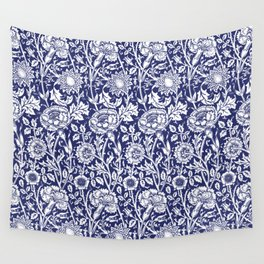 "William Morris Floral Pattern | ""Pink and Rose"" in Navy Blue and White Wall Tapestry"