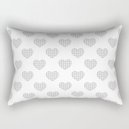 Gray and White Gingham Hearts on White Rectangular Pillow