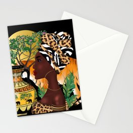 African woman,tiger,black  background . Stationery Cards