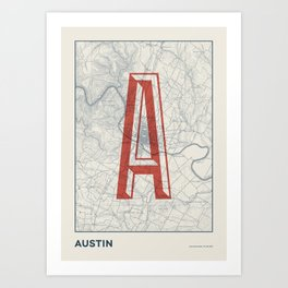 Vintage map - Austin 1910 Art Print