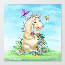 Unicorn in flowers Canvas Print