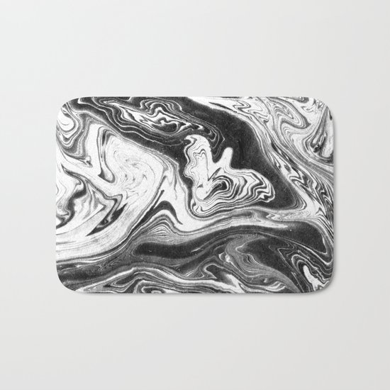 Mishiko - spilled ink abstract marble painting black and white minimal modern marbled paper water  Bath Mat