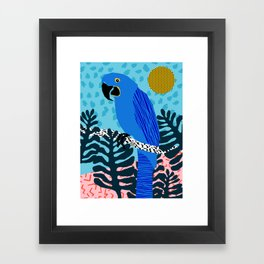 Steaz - memphis throwback tropical retro minimal bird art 1980s 80s style pattern parrot fashion Framed Art Print