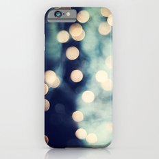 Bokeh Lights Sparkle Photography, Navy Gold Sparkly Abstract Photograph iPhone 6s Slim Case