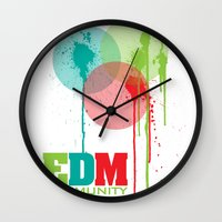 edm Wall Clocks featuring Bubbles. EDM (Electronic Dance Music) Community by DropBass
