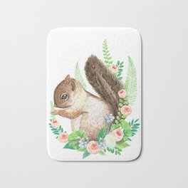 squirrel with flowers Bath Mat