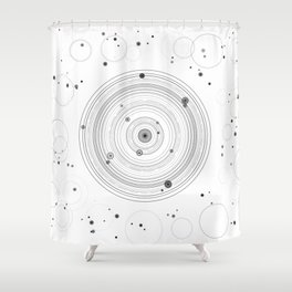 Zen circles geometric art in black and white abstract Shower Curtain