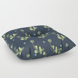 Spider Daisies (green + navy) Floor Pillow