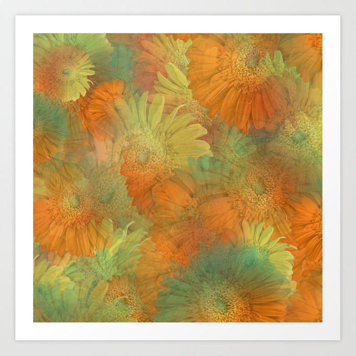 Floral Orange-Yellow-Green Art Print