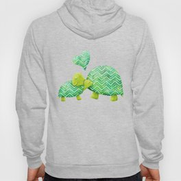Sweet Turtle Hugs with Heart in Teal and Lime Green Hoody