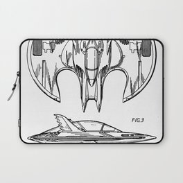 Batwing Patent - Bat Wing Art - Black And White Laptop Sleeve