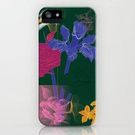 Dark Fall Flower Pattern for Home Goods Emerald Green Magenta iPhone Case