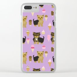 Yorkie ice cream gifts yorkshire terrier dog lover pet friendly patterns purple Clear iPhone Case