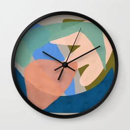 Shapes and Layers no.30 - Large Organic Shapes Blue Pink Green Gray Wall Clock