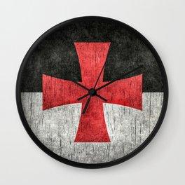 Knights Templar Symbol in grungy textures Wall Clock