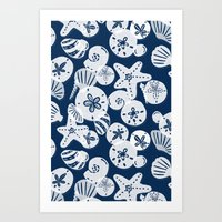 Navy and White Seashells Art Print