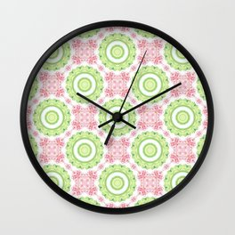 Floral Pattern - Lime Green & Pink Wall Clock