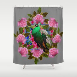 GREY COLOR PINK ROSES &  GREEN PEACOCK ART Shower Curtain