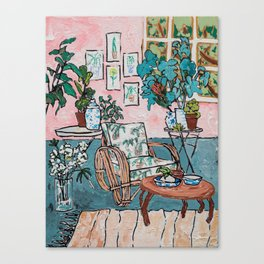 Rattan Chair in Jungle Room Canvas Print