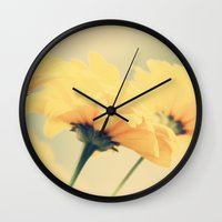 leah flores Wall Clocks featuring Flores by Irène Sneddon
