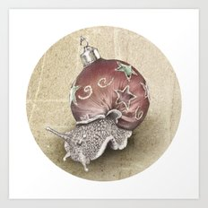 In which a snail is most festive this christmas  Art Print