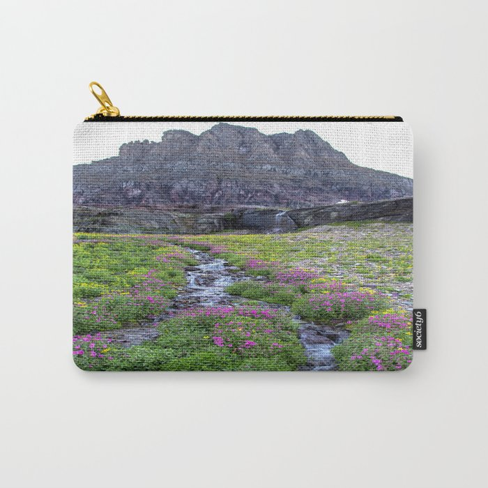 Mountain Wildflowers Lined Stream Carry-All Pouch