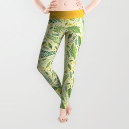 Tropical yellow green abstract leaves floral pattern Leggings