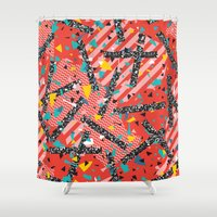 milan Shower Curtains featuring Modern Memphis Milan Inspired Primary Color Geometric Stripe Design Red Confetti 80s Party by Season of Victory