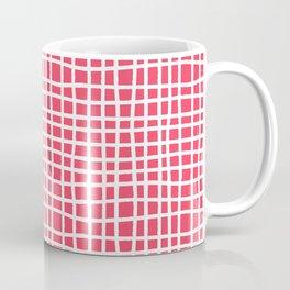sun kissed coral random cross hatch lines checker pattern Coffee Mug