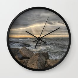 Sunbeams at Lanescove with rough waves Wall Clock