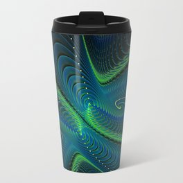 Blue Green Fractal Swirls Travel Mug