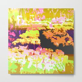Dawn Of The Flower Market Color Slapped Metal Print