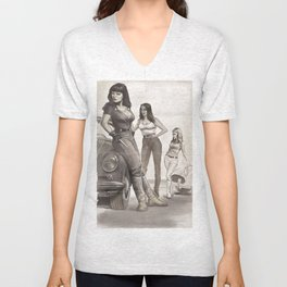 Hot Rod Pussycats Unisex V-Neck