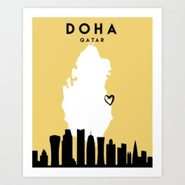 DOHA QATAR LOVE CITY SILHOUETTE SKYLINE ART Art Print