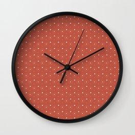 Pantone Living Coral and White Polka Dots Circle Pattern Wall Clock