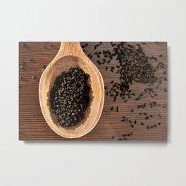 Black Nigella Sativa dry seeds portion Metal Print