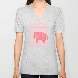 Big, Happy Elephant - Origami Pink Elephant Unisex V-Neck
