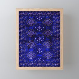 N128 - Royal Blue Traditional Oriental Moroccan Style Design  Framed Mini Art Print
