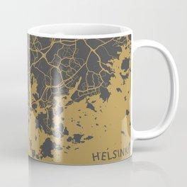 Helsinki Map ocher Coffee Mug