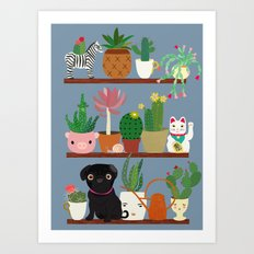 Cactus Shelf with Pug Art Print