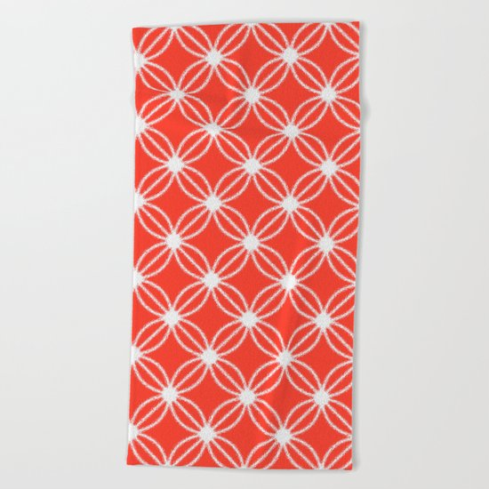 Abstract Circle Dots Red Beach Towel