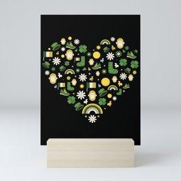 St. Patricks Day Heart Irish Shamrock Clover Gift Mini Art Print