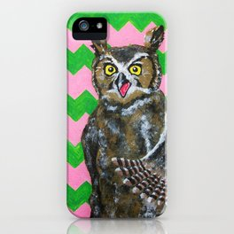 Pink and Green Chevron Owl iPhone Case